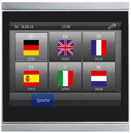 "[Bitte in ""Français"" übersetzen:] Corlo Touch KNX: Language switching, time, screen saver"