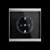 Prise de courant Corlo, noir/chromé mat (70331)