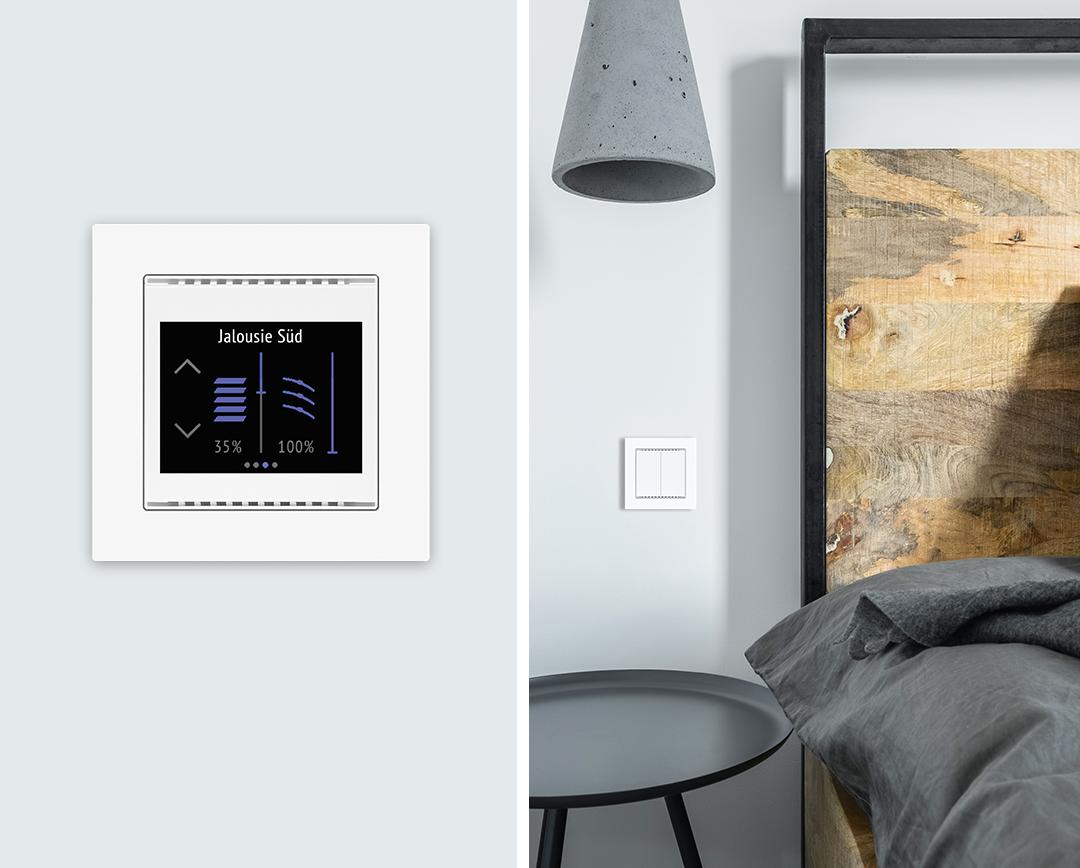 KNX Raumcontroller und KNX Taster im Schlafzimmer